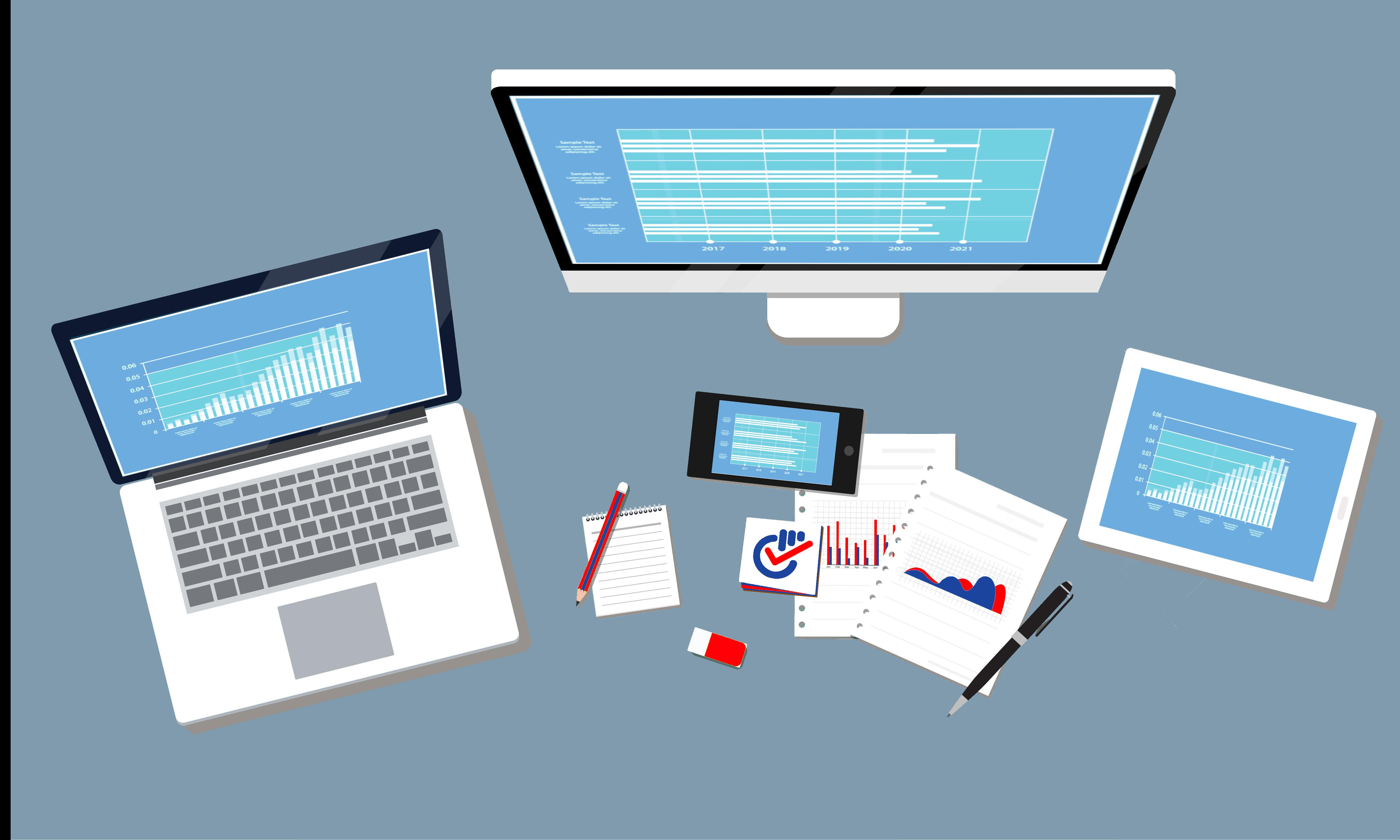 un pc portatile uno schermo desktop un tablet uno smartphone tutti raffiguranti diagrammi e grafici. alcuni fogli sparsi al centro